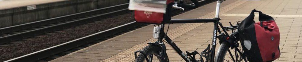Fietsroute met fiets op trein